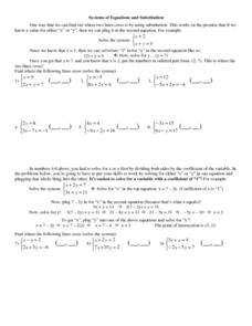 Systems of Equations and Substitution Worksheet