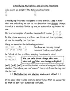Simplifying, Multiplying and Dividing Fractions Worksheet