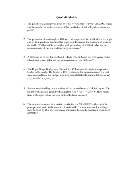 Quadratic Models Worksheet