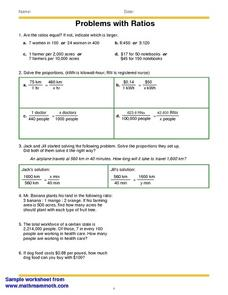 Problems with Ratios Worksheet