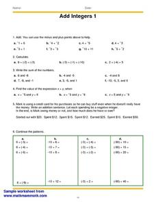 Add Integers 1 Worksheet
