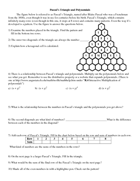 Pascal's Triangle and Polynomials Worksheet