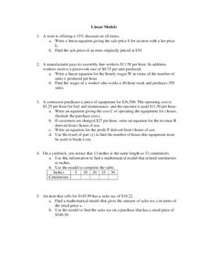 Linear Models Worksheet