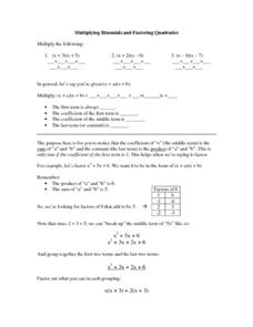 Multiplying Binomials and Factoring Quadratics Worksheet