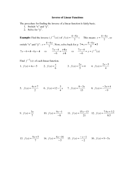inverse functions worksheet - Boras.winkd.co