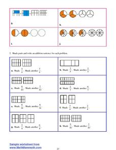 Adding Fractions- Using Pictures Worksheet