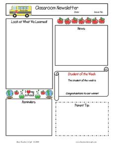 Classroom Newsletter Template Printables & Template