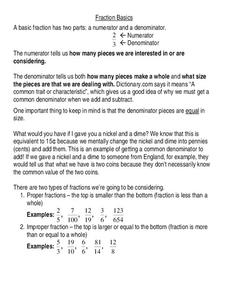Fraction Basics Worksheet