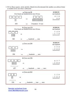 Subtraction with Borrowing Worksheet