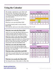 Using the Calendar Worksheet