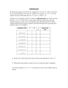 Exploring Lines Worksheet