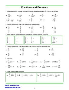 Fractions and Decimals 3 Worksheet