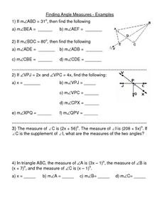 Finding Angle Measures - Examples Worksheet