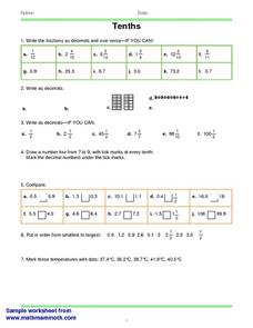 Tenths 2 Worksheet