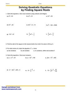 Solving Quadratic Equations by Finding Square Roots ...