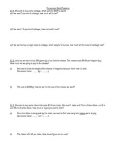 Conversion Word Problems Worksheet