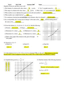 Test 1 MAT 190 Worksheet