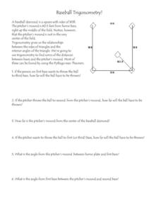 Baseball Trigonometry Worksheet for 6th - 8th Grade | Lesson