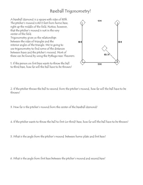 Baseball Trigonometry Worksheet For 6th 8th Grade