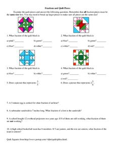 Fractions and Quilt Pieces Worksheet