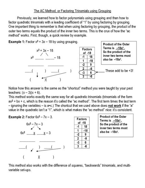 Factoring Trinomials A1 Lesson Plans Worksheets