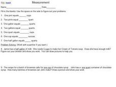 Measurement (Standard Measurement) Worksheet