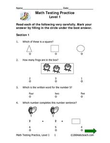 Math Testing Practice--Level 1 Worksheet