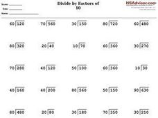 Divide by Factors of 10 Worksheet