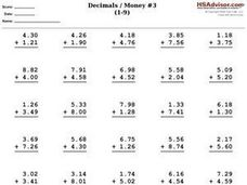 Addition with Decimals/ Money Worksheet