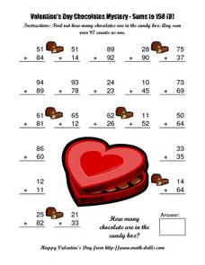 Valentine's Day Chocolates Mystery: Sums to 198 (B) Worksheet