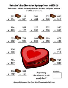Valentine's Day Chocolates Mystery: Sums to 1998 (A) Worksheet