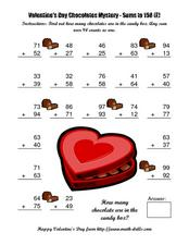 Valentine's Day Chocolates Mystery--Sums to 198 (E) Worksheet