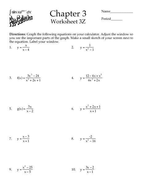 Calculus worksheets pdf
