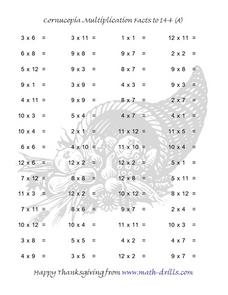 Cornucopia Multiplication Facts to 144 Worksheet