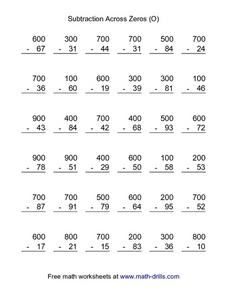 Subtraction Across Zeros Worksheet