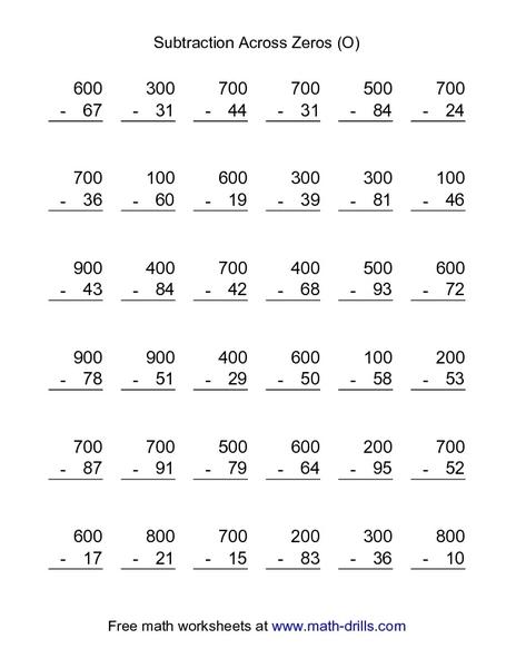 Subtraction Across Zeros Worksheet For 3rd Grade Lesson