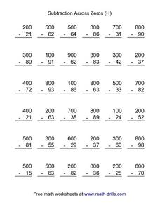 Subtraction Across Zeros (H) Worksheet