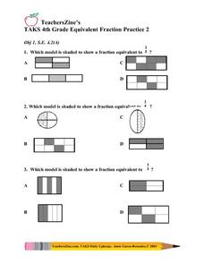 TAKS 4th Grade Equivalent Fraction Practice 2 Lesson Plan