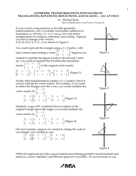 Geometric Transformations with Matrices Lesson Plan