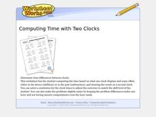 Computing Time With Two Clocks Worksheet