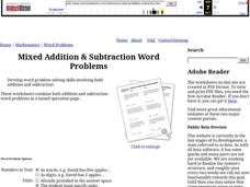 Addition & Subtraction Word Problems Worksheet