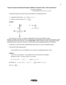 Linear Functions, Restricted Domains, Infinite Geometric Series, Interconnections Lesson Plan