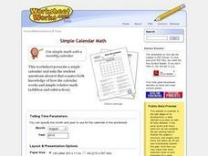 Math With Calendars Worksheet
