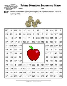 Prime Number Sequence Maze Worksheet
