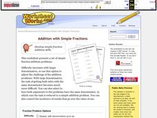 Addition With Simple Fractions Worksheet