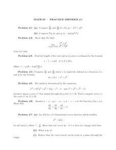 Math 53 – Practice Midterm #1 Lesson Plan
