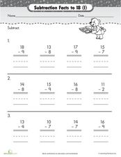 Subtraction Facts To 18 Worksheet