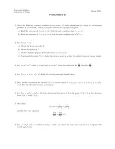 Worksheet 27 Worksheet