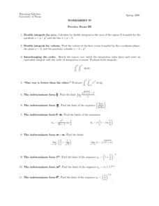 Worksheet 37 - Practice Exam III - Integrals Lesson Plan
