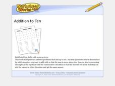 Addition To Ten Worksheet